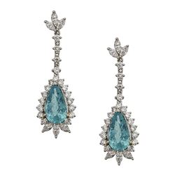 4.96 ctw Paraiba Tourmaline and Diamond Earrings - 18KT White Gold