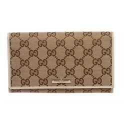 Gucci Beige Tan Monogram Canvas Leather Continental Wallet