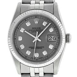 Rolex Mens 36mm Stainless Steel Slate Grey Diamond Datejust Wristwatch