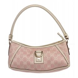 Gucci Pink White Canvas Monogram Small Abbey Shoulder Bag
