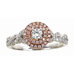 0.57 ctw Diamond Ring - 14KT White and Rose Gold