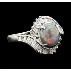1.80 ctw Black Opal and Diamond Ring - Platinum