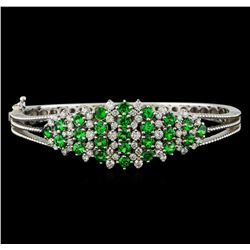 3.68 ctw Tsavorite and Diamond Bracelet - 14KT White Gold