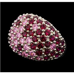5.55 ctw Lab Created Ruby and Pink Sapphire Ring - 14KT White Gold