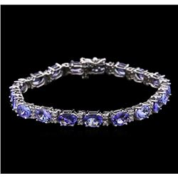 13.70 ctw Tanzanite and Diamond Bracelet - 14KT White Gold