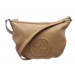 Gucci Beige Leather Soho Messenger Bag
