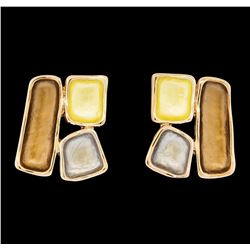Tri Color Rectangle Earrings - Rose Gold Plated