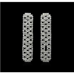 Pave Crystal Rectangle Earrings - Silver Plated
