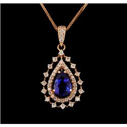14KT Rose Gold 1.99 ctw Tanzanite and Diamond Pendant With Chain