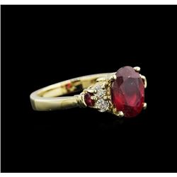 3.28 ctw Ruby and Diamond Ring - 14KT Yellow Gold