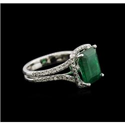 3.91 ctw Emerald and Diamond Ring - 14KT White Gold