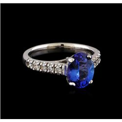 2.15 ctw Tanzanite and Diamond Ring - 14KT White Gold