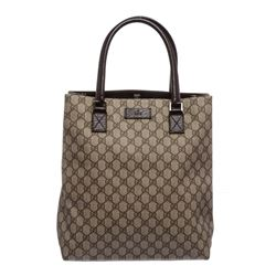 Gucci Brown Monogram Coated Canvas Leather Trim Tote Handbag