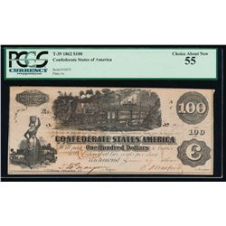 1862 $100 Confederate States of America Note PCGS 55