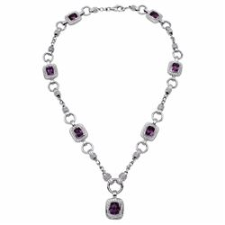 14KT White Gold 10.95ctw Amethyst and Diamond Necklace