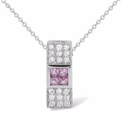 18KT White Gold 0.36ctw Pink Sapphire and Diamond Pendant with Chain