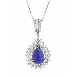 18KT White Gold 6.99ct Tanzanite and Diamond Pendant with Chain
