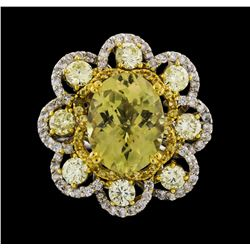 14KT Two Tone Gold 4.41ctw Yellow Sapphire and Diamond Ring