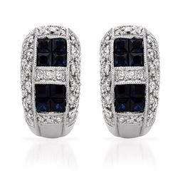 14KT White Gold 1.36ctw Blue Sapphire and Diamond Earrings