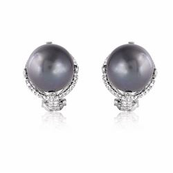 14KT White Gold 31.89ctw Tahitian Pearl and Diamond Earrings