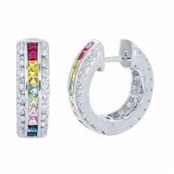 14KT White Gold 2.29ctw Multi Color Sapphire and Diamond Earrings