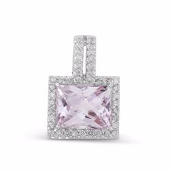 14KT White Gold 3.17ct Amethyst and Diamond Pendant