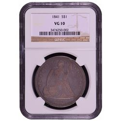 1841 Seated Liberty Dollar Coin NGC VG10