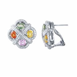 14KT White Gold 3.80ctw Multi Color Sapphire and Diamond Earrings