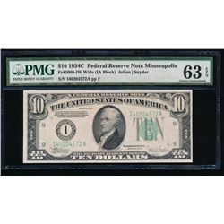 1934C $10 Minneapolis Federal Reserve Note PMG 63EPQ