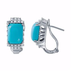 14KT White Gold 6.06ctw Turquoise and Diamond Earrings