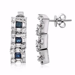 14KT White Gold 1.13ctw Blue Sapphire and Diamond Earrings