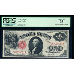 1917 $1 Legal Tender Note PCGS 63