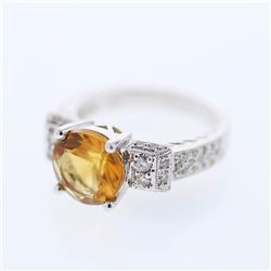 14KT White Gold 2.48ct Citrine and Diamond Ring