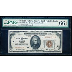 1929 $20 Saint Louis Federal Reserve Bank Note PMG 66EPQ