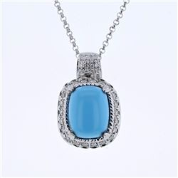 14KT White Gold 7.13ct Turquoise and Diamond Pendant with Chain