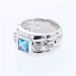 18KT White Gold 1.66ct Blue Topaz and Diamond Ring