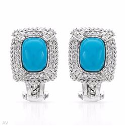 14KT White Gold 2.69ctw Turquoise and Diamond Earrings