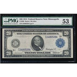1914 $20 Minneapolis Federal Reserve Note PMG 53
