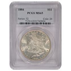 1884 $1 Morgan Silver Dollar Coin PCGS MS65