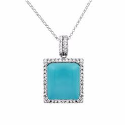 14KT White Gold 10.72ct Turquoise and Diamond Pendant with Chain
