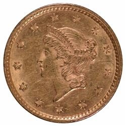 1853 $1 Type 1 Liberty Head Gold Coin