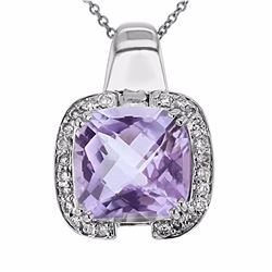 14KT White Gold 5.56ct Amethyst and Diamond Pendant with Chain