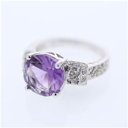 18KT White Gold 3.17ct Amethyst and Diamond Ring