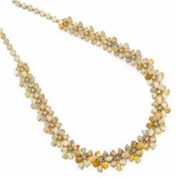 14KT Yellow Gold 30.87ctw Opal and Diamond Necklace