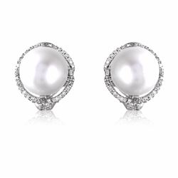 14KT White Gold 27.94ctw Pearl and Diamond Earrings