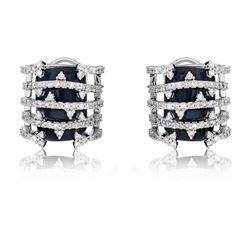14KT White Gold 9.42ctw Onyx and Diamond Earrings