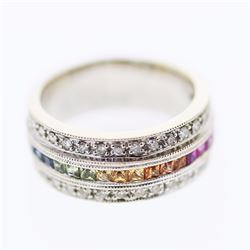 14KT White Gold 0.72ctw Multi Color Sapphire and Diamond Ring