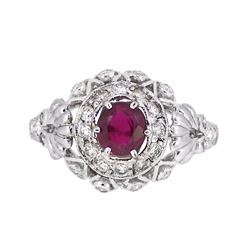 18KT White Gold 0.77ct Ruby and Diamond Ring