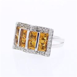 14KT White Gold 2.51ctw Citrine and Diamond Ring