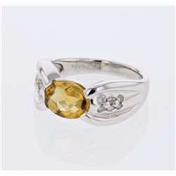 14KT White Gold 1.68ct Citrine and Diamond Ring